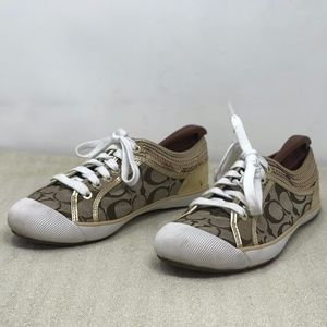 Coach Monogram Zorra Gold Lace Up Sneakers Sz 7.5